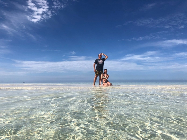 Sophie and her dad. Fiji.